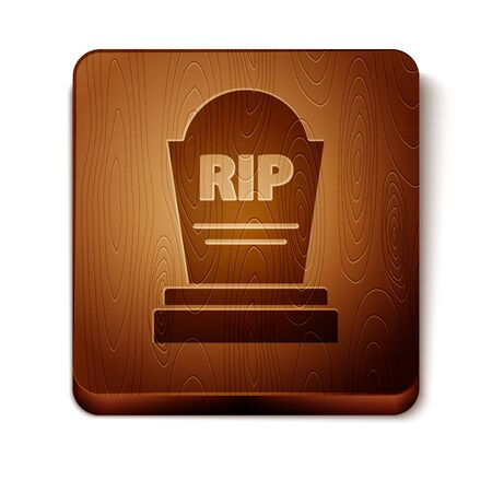 Brown Tombstone with RIP written on it icon isolated on white background. Grave icon. Wooden square button. Vector Illustration Vector Illustratie