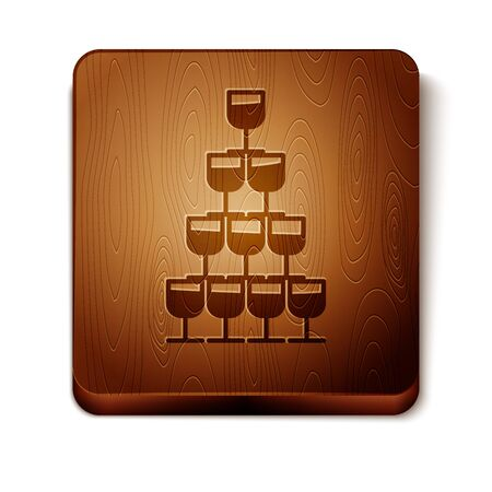 Brown Wine glasses stacked in a pyramid tower icon isolated on white background. Wineglass sign. Wooden square button. Vector Illustration