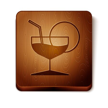 Brown Martini glass icon isolated on white background. Cocktail icon. Wine glass icon. Wooden square button. Vector Illustration