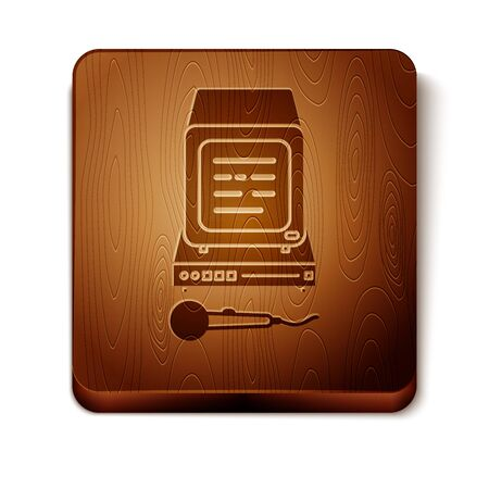 Brown Karaoke icon isolated on white background. Microphone and monitor. Wooden square button. Vector Illustration Иллюстрация