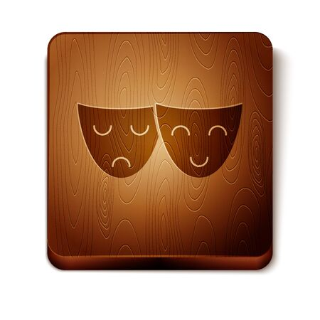 Brown Comedy and tragedy theatrical masks icon isolated on white background. Wooden square button. Vector Illustration Иллюстрация
