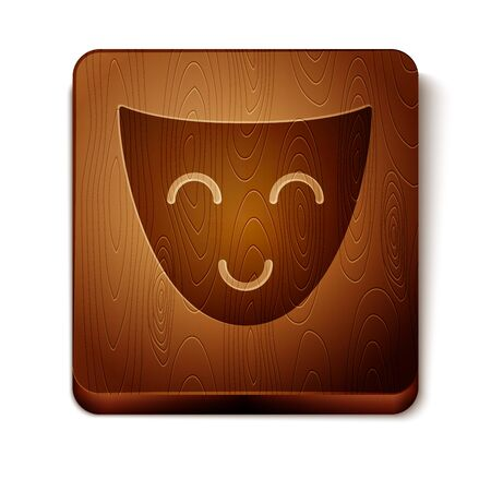 Brown Comedy theatrical mask icon isolated on white background. Wooden square button. Vector Illustration