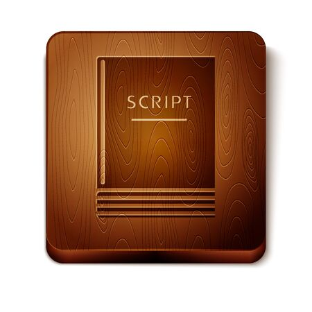 Brown Scenario icon isolated on white background. Script reading concept for art project, films, theaters. Wooden square button. Vector Illustration