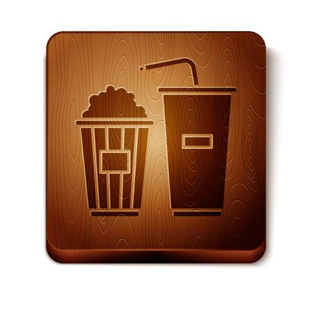 Brown Popcorn in cardboard box and paper glass with drinking straw and water icon isolated on white background. Soda drink glass. Wooden square button. Vector Illustration