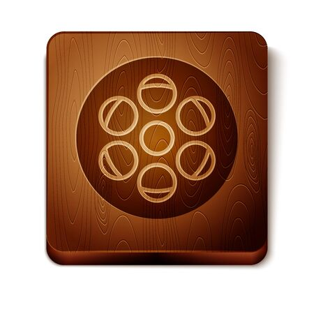 Brown Film reel icon isolated on white background. Wooden square button. Vector Illustration