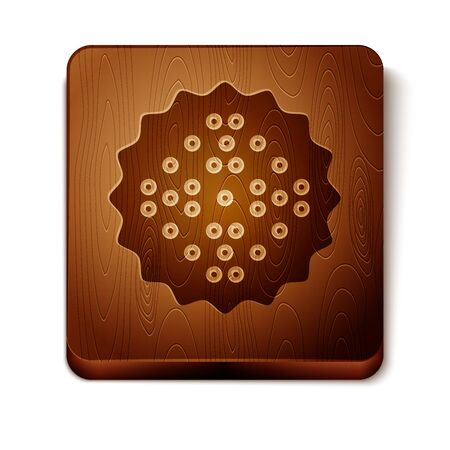 Brown Cracker biscuit icon isolated on white background. Sweet cookie. Wooden square button. Vector Illustration 일러스트