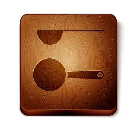 Brown Measuring spoon icon isolated on white background. Wooden square button. Vector Illustration