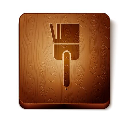Brown Kitchen brush icon isolated on white background. Wooden square button. Vector Illustration Illustration