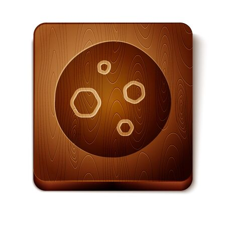 Brown Cookie or biscuit with chocolate icon isolated on white background. Wooden square button. Vector Illustration
