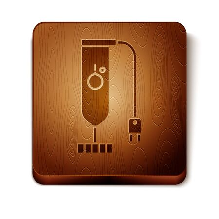 Brown Blender icon isolated on white background. Kitchen electric stationary blender. Cooking smoothies, cocktail or juice. Wooden square button. Vector Illustration
