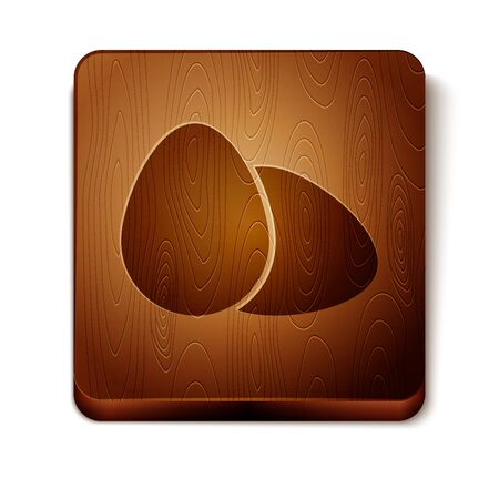 Brown Chicken egg icon isolated on white background. Wooden square button. Vector Illustration