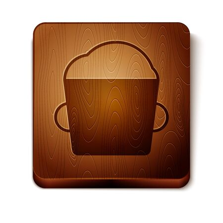 Brown Bakery bowl dough icon isolated on white background. Wooden square button. Vector Illustration