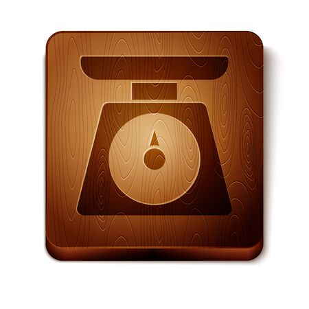 Brown Scales icon isolated on white background. Weight measure equipment. Wooden square button. Vector Illustration Иллюстрация