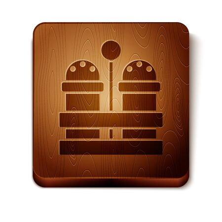 Brown Salt and pepper icon isolated on white background. Cooking spices. Wooden square button. Vector Illustration Stock Illustratie