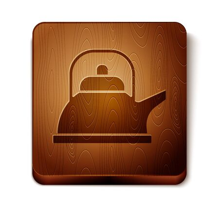 Brown Kettle with handle icon isolated on white background. Teapot icon. Wooden square button. Vector Illustration