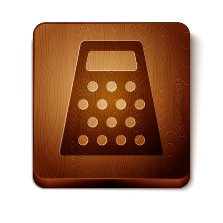 Brown Grater icon isolated on white background. Kitchen symbol. Cooking utensil. Cutlery sign. Wooden square button. Vector Illustration
