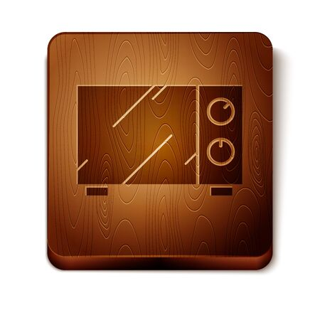 Brown Microwave oven icon isolated on white background. Home appliances icon. Wooden square button. Vector Illustration