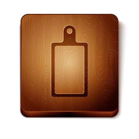 Brown Cutting board icon isolated on white background. Chopping Board symbol. Wooden square button. Vector Illustration