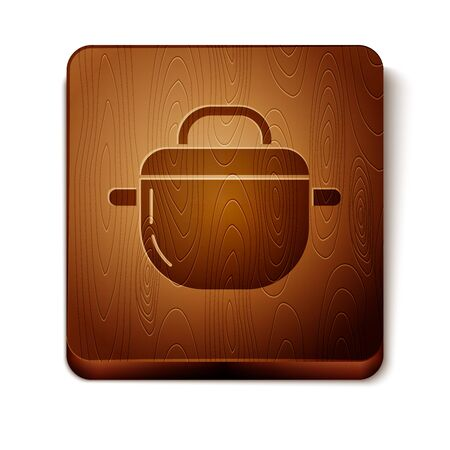Brown Cooking pot icon isolated on white background. Boil or stew food symbol. Wooden square button. Vector Illustration