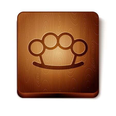 Brown Brass knuckles icon isolated on white background. Wooden square button. Vector Illustration