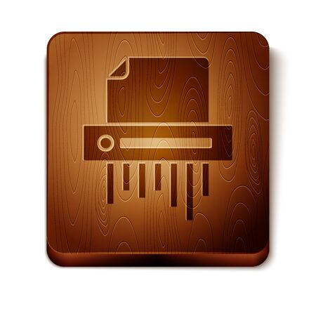 Brown Paper shredder confidential and private document office information protection icon isolated on white background. Wooden square button. Vector Illustration