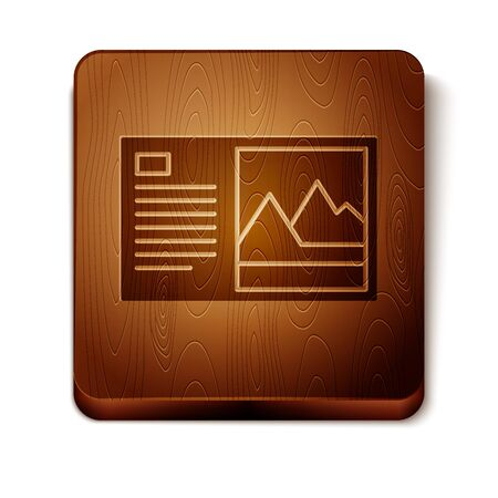 Brown Postcard icon isolated on white background. Wooden square button. Vector Illustration