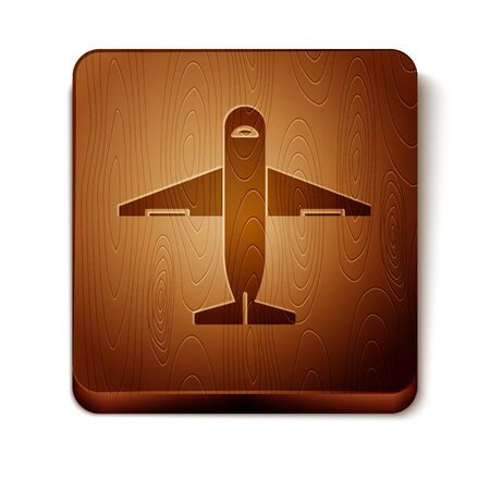Brown Plane icon isolated on white background. Delivery, transportation. Cargo delivery by air. Airplane with parcels, boxes. Wooden square button. Vector Illustration