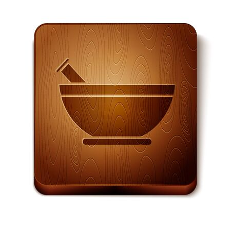 Brown Mortar and pestle icon isolated on white background. Wooden square button. Vector Illustration