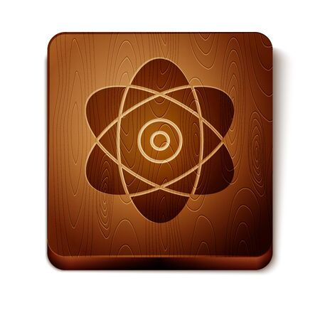 Brown Atom icon isolated on white background. Symbol of science, education, nuclear physics, scientific research. Electrons and protons sign. Wooden square button. Vector Illustration