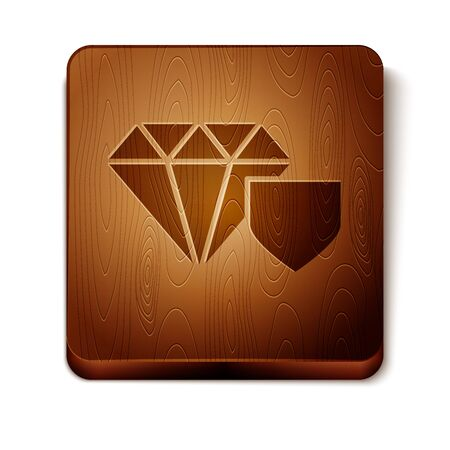Brown Diamond with shield icon isolated on white background. Jewelry insurance concept. Security, safety, protection, protect concept. Wooden square button. Vector Illustration Ilustrace