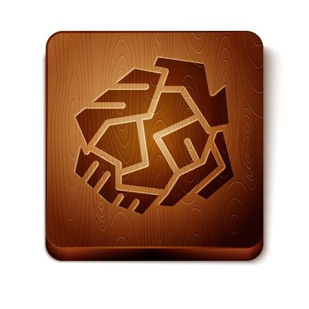 Brown Crumpled paper ball icon isolated on white background. Wooden square button. Vector Illustration