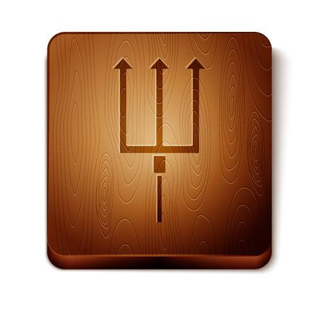 Brown Neptune Trident icon isolated on white background. Wooden square button. Vector Illustration