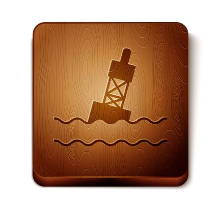Brown Floating buoy on the sea icon isolated on white background. Wooden square button. Vector Illustration