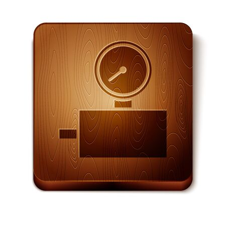 Brown Gauge scale icon isolated on white background. Satisfaction, temperature, manometer, risk, rating, performance, speed tachometer. Wooden square button. Vector Illustration Illustration