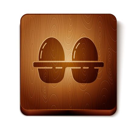 Brown Chicken egg in box icon isolated on white background. Wooden square button. Vector Illustration
