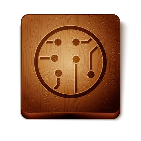 Brown Processor icon isolated on white background. CPU, central processing unit, microchip, microcircuit, computer processor, chip. Wooden square button. Vector Illustration