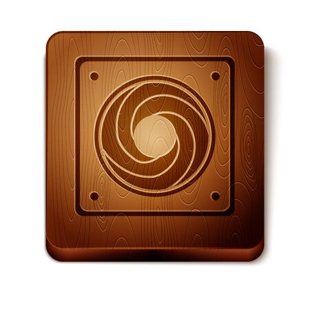 Brown Computer cooler icon isolated on white background. PC hardware fan. Wooden square button. Vector Illustration