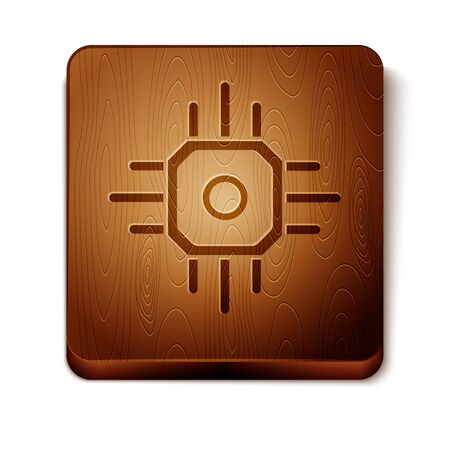 Brown Processor icon isolated on white background. CPU, central processing unit, microchip, microcircuit, computer processor, chip. Wooden square button. Vector Illustration Vecteurs