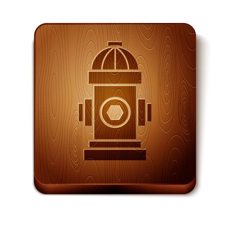 Brown Fire hydrant icon isolated on white background. Wooden square button. Vector Illustration