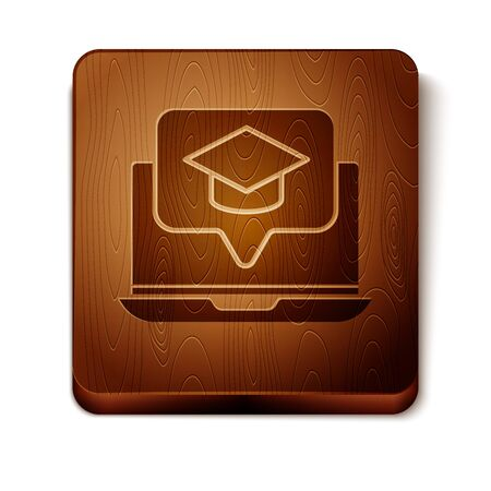 Brown Graduation cap on screen laptop icon isolated on white background. Online learning or e-learning concept. Wooden square button. Vector Illustration  イラスト・ベクター素材