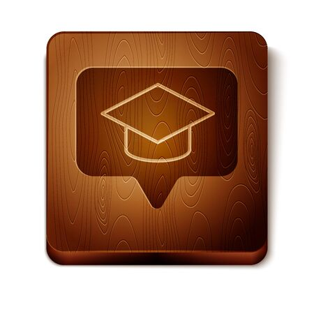 Brown Graduation cap in speech bubble icon isolated on white background. Graduation hat with tassel icon. Wooden square button. Vector Illustration  イラスト・ベクター素材