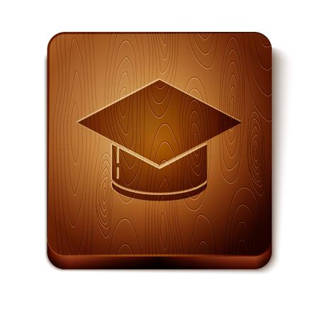Brown Graduation cap icon isolated on white background. Graduation hat with tassel icon. Wooden square button. Vector Illustration 写真素材 - 132645039