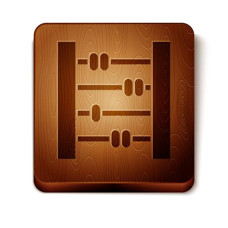 Brown Abacus icon isolated on white background. Traditional counting frame. Education sign. Mathematics school. Wooden square button. Vector Illustration