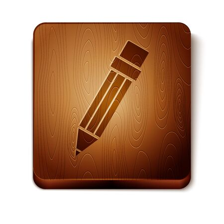 Brown Pencil with eraser icon isolated on white background. Drawing and educational tools. School office symbol. Wooden square button. Vector Illustration Vetores