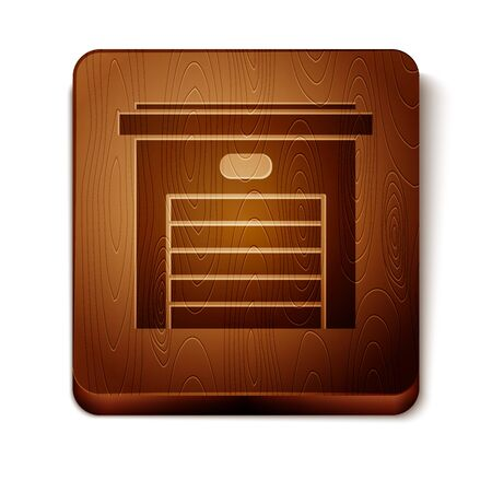Brown Garage icon isolated on white background. Wooden square button. Vector Illustration