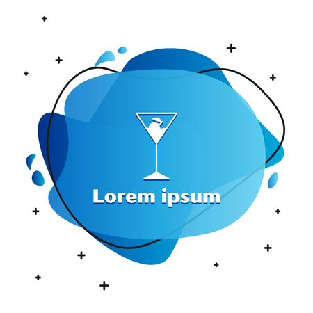 White Martini glass icon isolated on white background. Cocktail icon. Wine glass icon. Abstract banner with liquid shapes. Vector Illustration 向量圖像