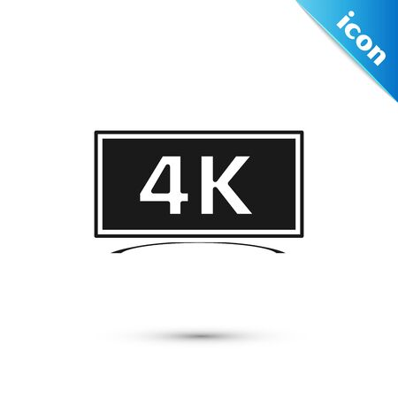 Black Screen tv with 4k Ultra HD video technology icon isolated on white background. Vector Illustration Illustration