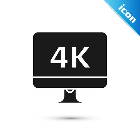Black Computer PC monitor display with 4k video technology icon isolated on white background. Vector Illustration