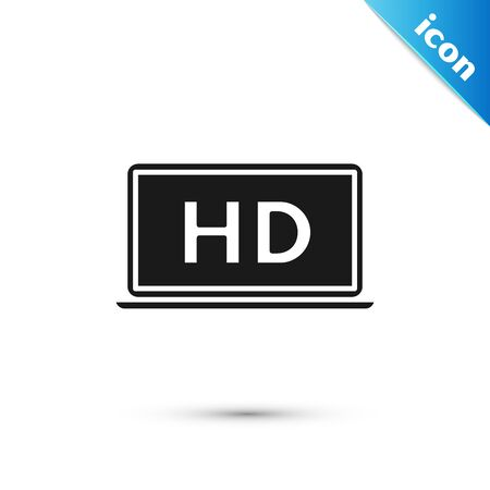 Black Laptop screen with HD video technology icon isolated on white background. Vector Illustration 向量圖像