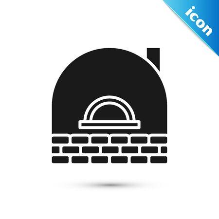 Black Brick stove icon isolated on white background. Brick fireplace, masonry stove, stone oven icon. Vector Illustration Illustration